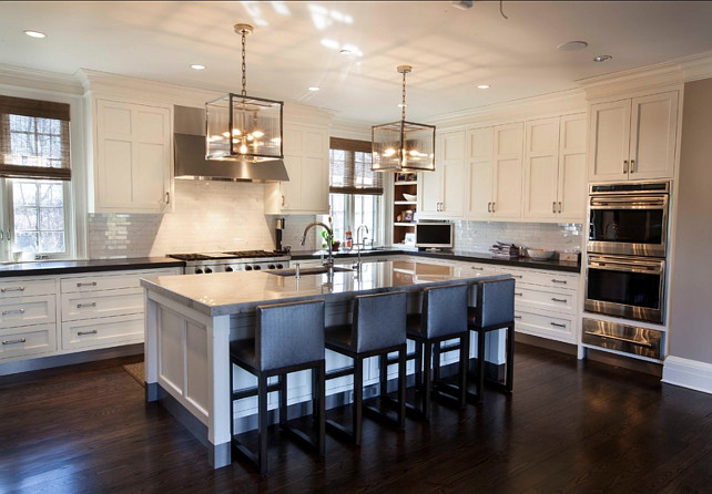 White Kitchen Transitional White Kitchen With Dark Stained Hardwood