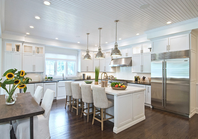 White Kitchen. White Kitchen Beadboard Ceiling. White Kitchen Beadboard. #Kitchen #WhiteKitchen #KitchenBeadboard #KitchenBeadboardCeiling  EB Designs