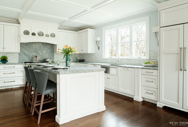 White Kitchen. White Kitchen Coffered Ceiling. White Kitchen Hardwood Floors. White Kitchen Countertop. White Kitchen Hardware. White Kitchen Island. White Kitchen Backsplash. #WhiteKitchen Heidi Piron Design.