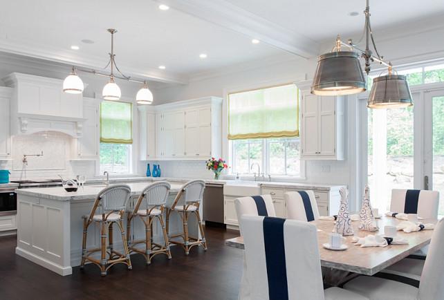 White Kitchen. White Kitchen open to dining room. White kitchen Cabinets. # WhiteKitchen