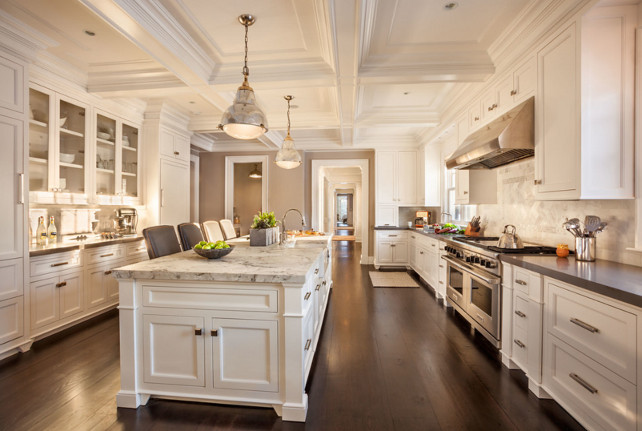 White Kitchen. White kitchen coffered ceiling. White kitchen marble island countertop. White Kitchen gray perimeter countertop. White Kitchen Marble backsplash. White Kitchen cabinet. #WhiteKitchen