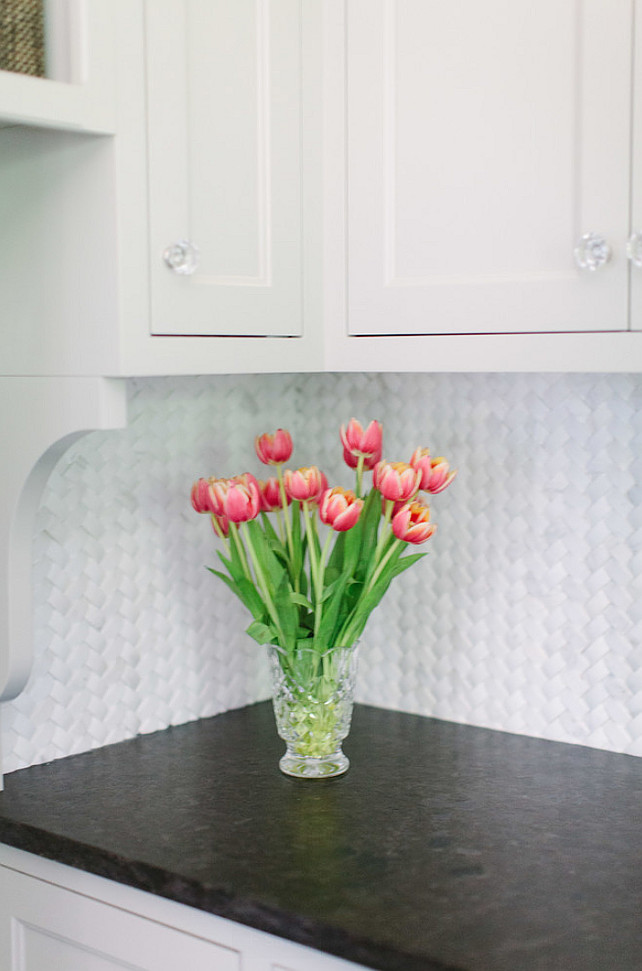 White Marble Braid Herringbone 1″ x 2″ Backsplash. Backsplash Ideas. #Backsplash #NewBacksplash #NewBacksplashIdeas #WhiteMarble #BraidHerringbone #BraidTiles #BraidBacksplash Jean Stoffer Design.