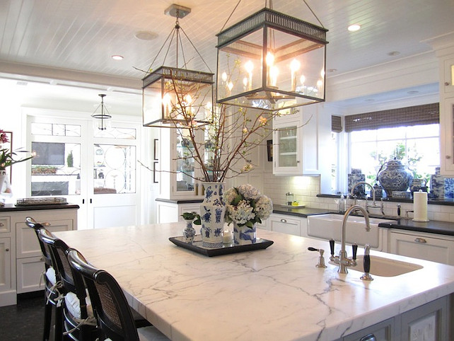white marble kitchen island kitchen design with glossy white beadboard ceiling accented with urban electric - Marble Kitchen Design