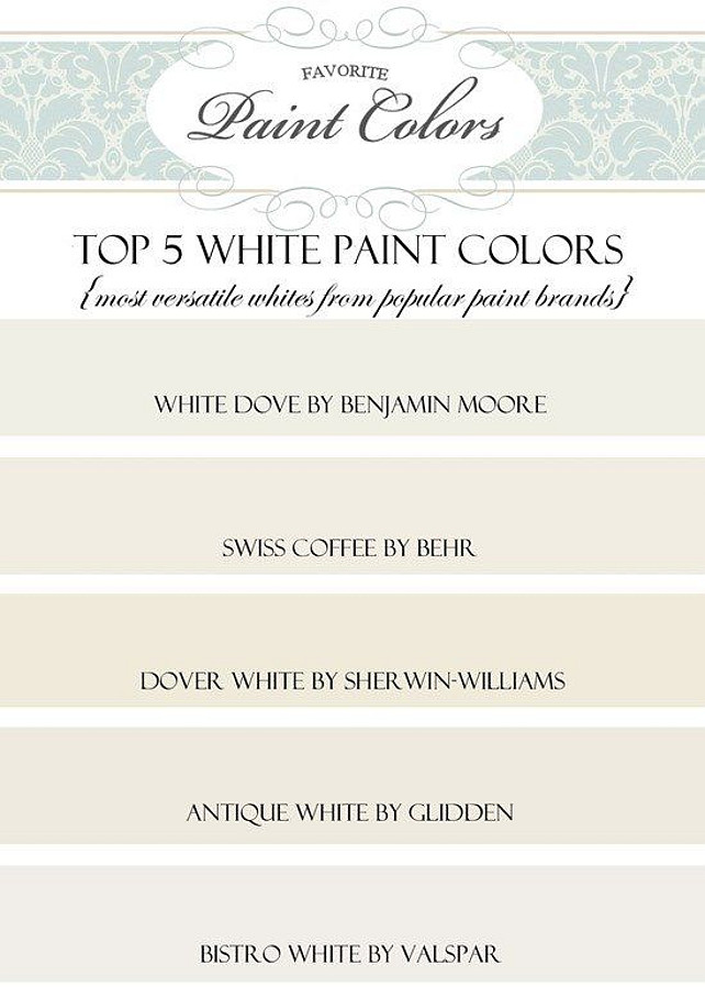 White Paint Color. Popular White Paint Color. #WhitePaintColor #WhiteColorPalette Via favoritepaintcolorsblog