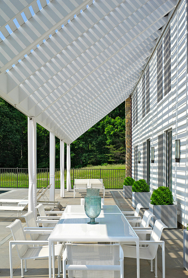 White Pergola over Patio. #Pergola #WhitePergola #Patio  Fraerman Associates Architecture.