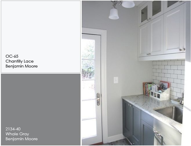 White and Gray Kitchen Cabinet Paint Color. The white upper cabinet paint color is Chantilly Lace OC-65 Benjamin Moore. The gray lower cabinet paint color is Whale Gray 2134-40 Benjamin Moore. Upper and Lower Kitchen Cabinet Paint Color. Two Tone Kitchen Cabinet Paint Color. #BenjaminMoorePaintColors