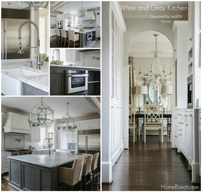 White and Gray Kitchen Design. White and Gray Kitchen Paint Color. White and Gray Kitchen Lighting. White and Gray Kitchen Sources. #WhiteandGray #Kitchen