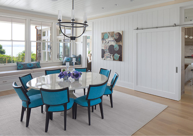 White and Turquoise. White and Turquoise Dining Room. White and Turquoise Interiors. #White #Turquoise #Interiors #DiningRoom Anthony Crisafulli Photography. Gale Goff Architect.