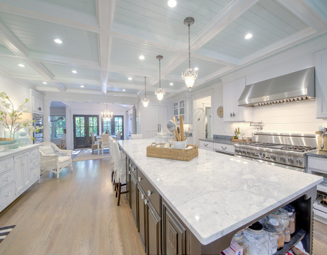 Shingle Cape Cod Home With Blue Kitchen Ceiling Home