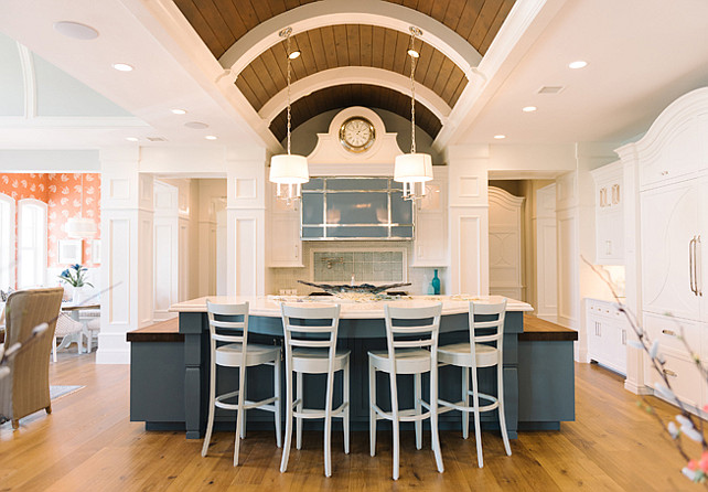 White kitchen with blue island. White kitchen with navy blue island. Kitchen trend alert White kitchen with navy blue island. Four Chairs Furniture.