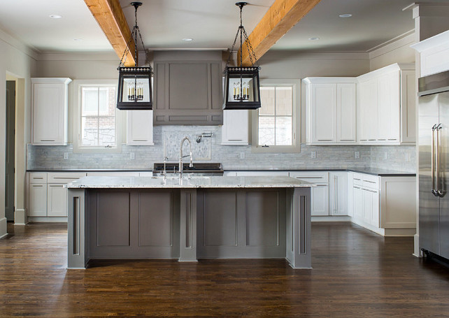 White kitchen with gray island. White kitchen with gray island ideas. The island lighting is from Restoration Hardware. #Kitchen #WhiteKitchen #GrayIsland Vikki Werbalowsky from La Bella Vie.