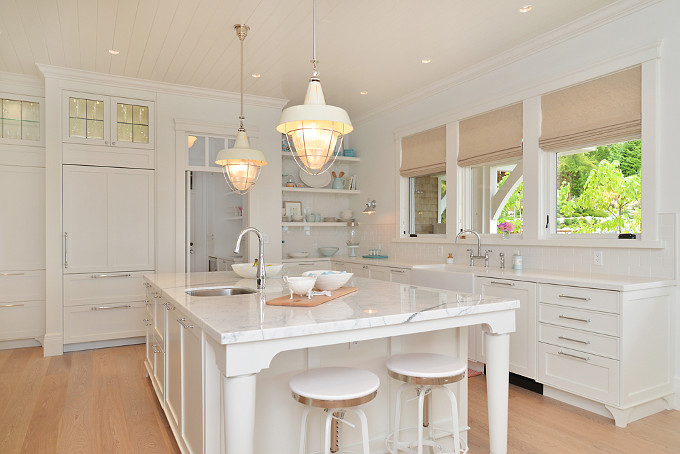 White kitchen with turquoise decor. Sunshine Coast Home Design.