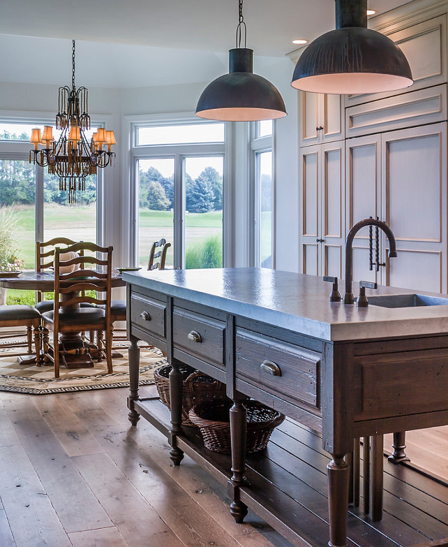 Wide Plank Kitchen Floor. Kitchen with wide plank white oak floor. #Kitchen #WhiteOakWideplankFloor #OakWidePlank Past Basket Design.