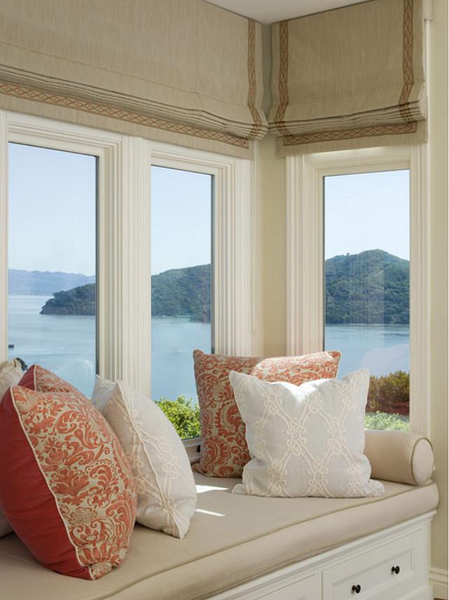 Window Seat. Window Seat Pillows. Window Seat Fabric. Window Seat Ideas. Custom Window Seat #WindowSeat EJ Interior Design, Eugenia Jesberg.