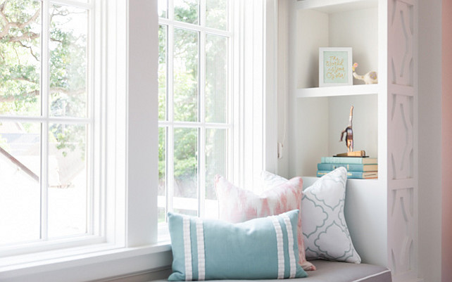 Window seat pillows. Window seat with pastel pillows. #Windowseat #Pastel #Pillows Photos by Caitlin Abrams.