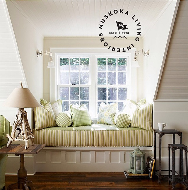 Window seat. Window seat fabric ideas. #Windowseat #muskokalivinginteriors #muskokalivingprojects #interiordesign #coastalliving #housebeautiful #muskoka #lakerosseau #architecture Muskoka Living Interiors.