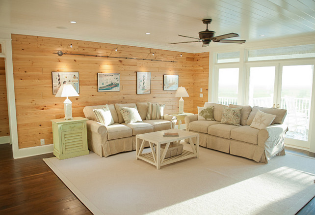 Ceiling Paint Color: Sherwin-Williams Pure White in a satin sheen. Wood Stain. Wood Stain Ideas. The wall are Cypress with Cocoa Bean stain. The floors are Black Walnut with Special Walnut stain. #WoodStain