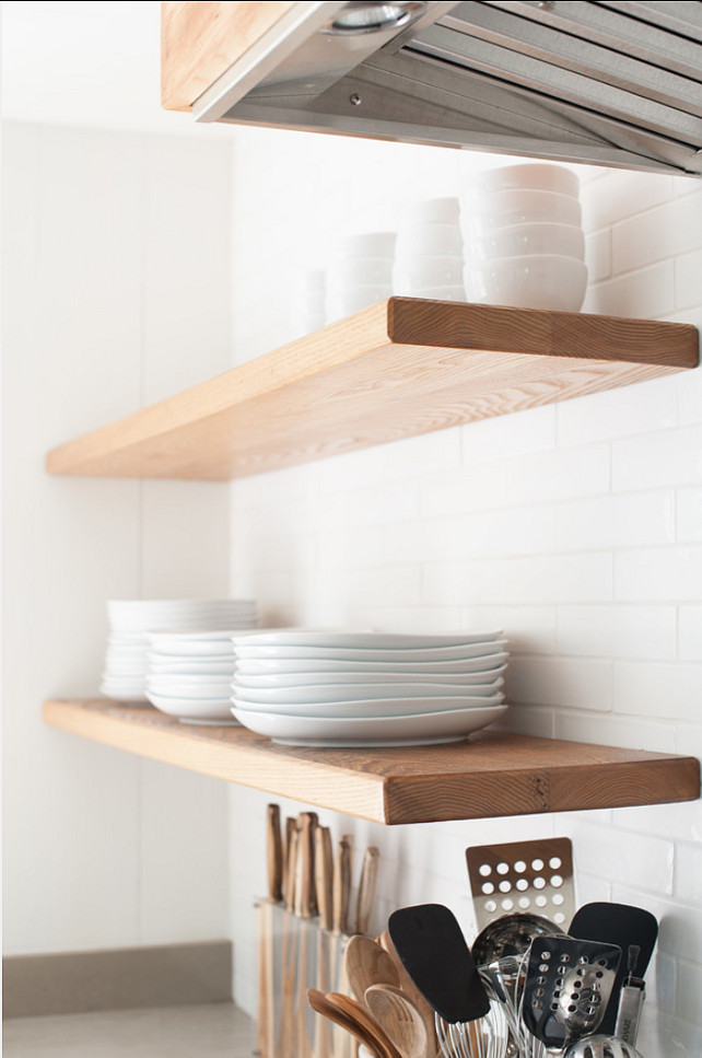 "Kitchen Open Shelves. Easy Ideas for Kitchen Open Shelves. We installed steel brackets behind the wall which have steel rods protruding out. The shelf slips over the steel rods giving that ""floating"" look. #Kitchen #KitchenShelves #OpenShelves"