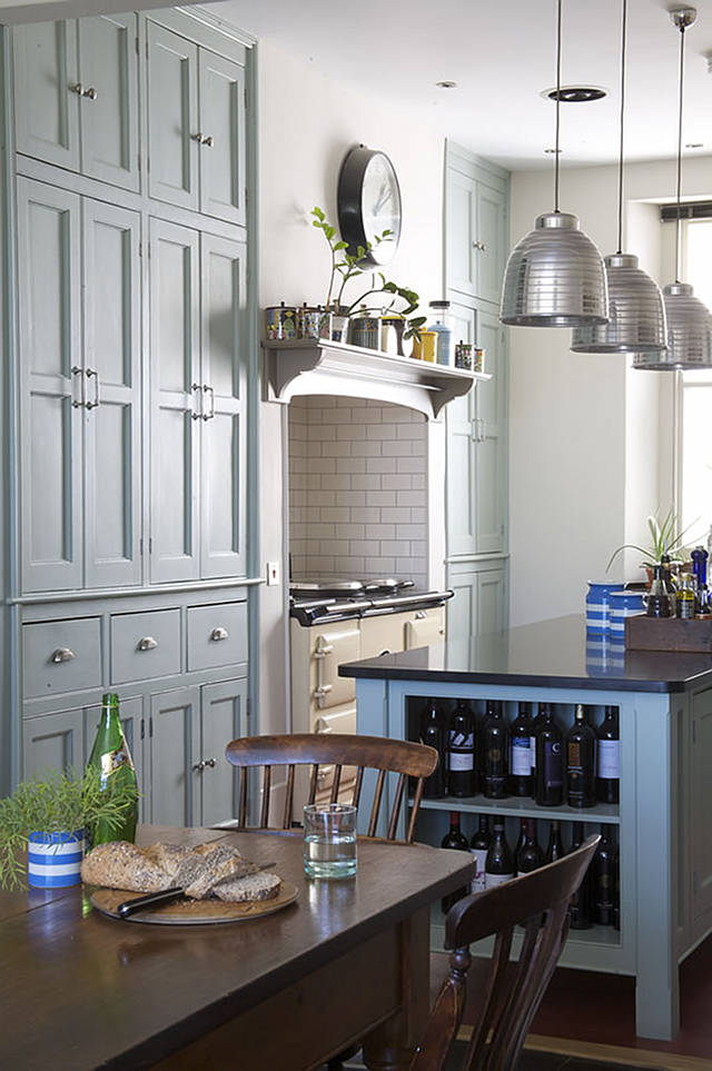 Farrow and Ball Green Blue country kitchen