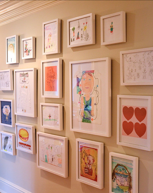 Picture Gallery. Display your kids arts! Cute idea! #Kids #Homedecor