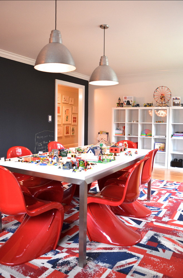 Kids Playroom Ideas. This is a great playroom, lego room, workstation for kids. #Playroom