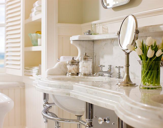 Bathroom Vanity Design. Classic marble bathroom vanity. #Bathroom #Vanity