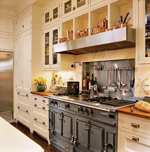 classic range in a white kitchen