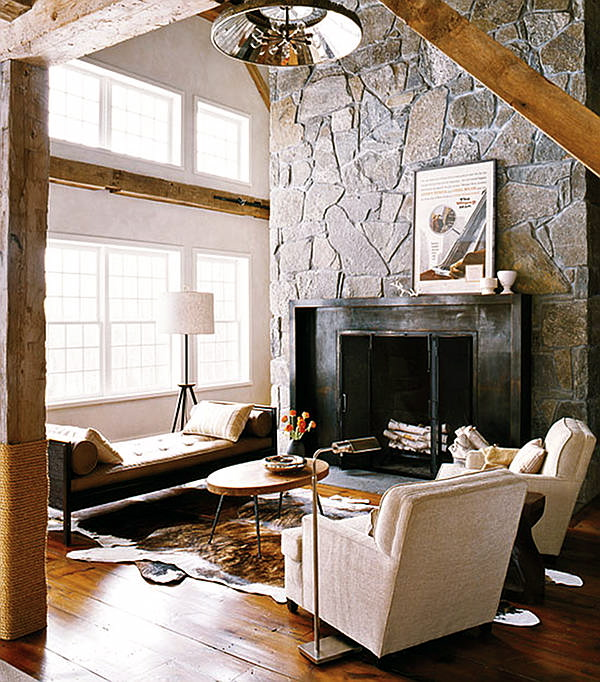 Modern rustic barn home bunch interior design ideas - Interactive home interior decor with various modern stone fireplace ...