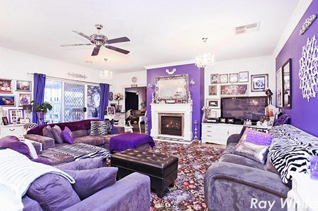 Purple Living room  Oh. Cool or Fool  The Rainbow House   Home Bunch   Interior Design Ideas