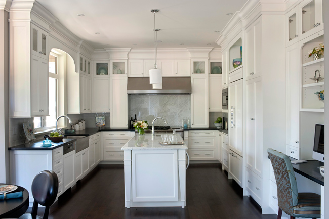 modren kitchens with white cabinets and dark floors wood counters