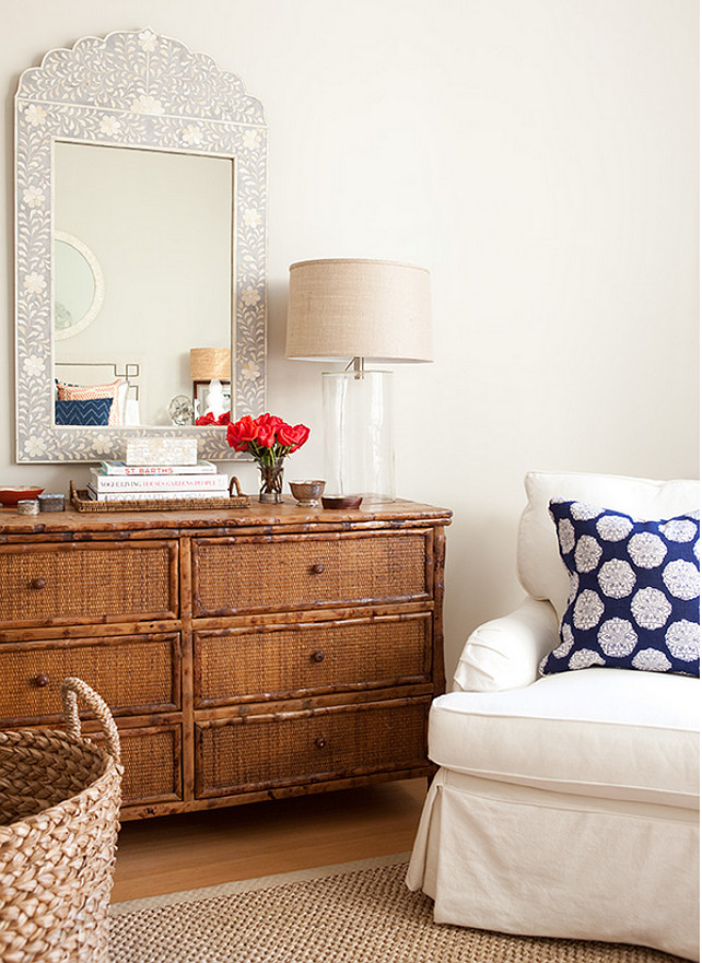 sisal rug white slipcover chai blue pillow bamboo dresser wicker dresser Jenny Wolf Interiors.