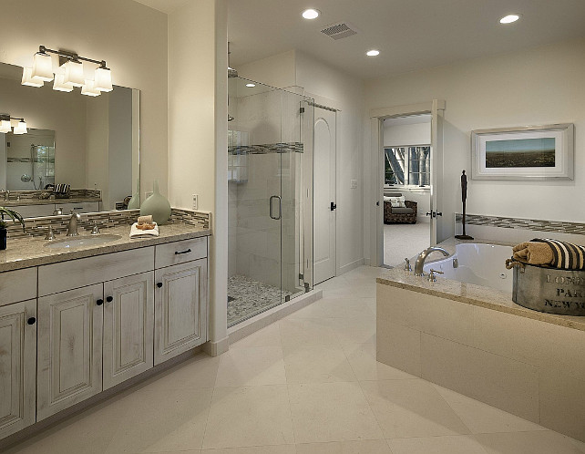 Bathroom Ideas. This is a great bathroom design for resale of your home. It's beautiful and neutral. #Bathroom