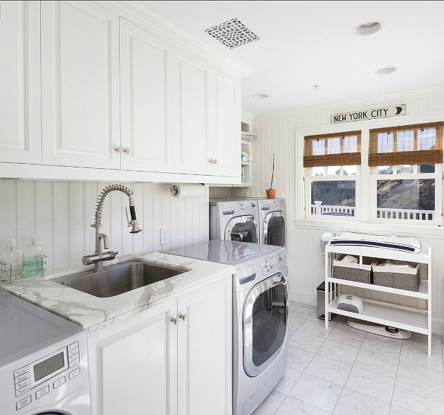 Laundry Room Ideas. This is a great laundry room. I love the double machines! #LaundryRoom