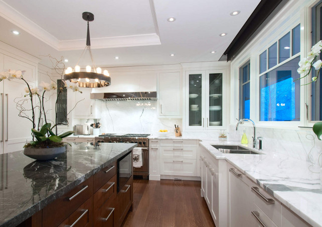 Kitchen Marble Countertop Ideas. Beautiful white and gray marble countertop. #Kitchen #Marble #Countertop