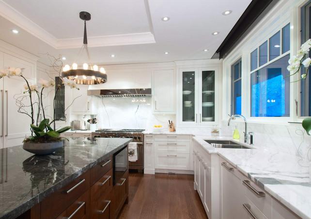 Kitchen Marble Countertop Ideas. Beautiful white and gray marble countertop. #Kitchen #Marble #Countertop