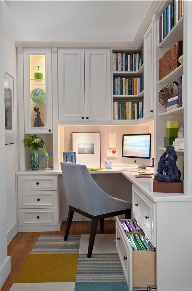 Home Office. Small Home Office Ideas. Convert a small space to a polished eye-catching and functional home office. #HomeOffice #SmallSpaces