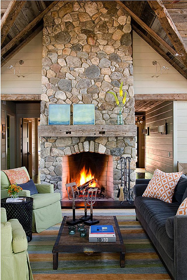 Rustic Stone Fireplace with reclaimed beam. Living room with Rustic Stone Fireplace with reclaimed beam. #Fireplace #StoneFireplace #LivingRoom #Rustic #RusticInteriors ##ReclaimedWood #Beams Kristina Crestin Design.