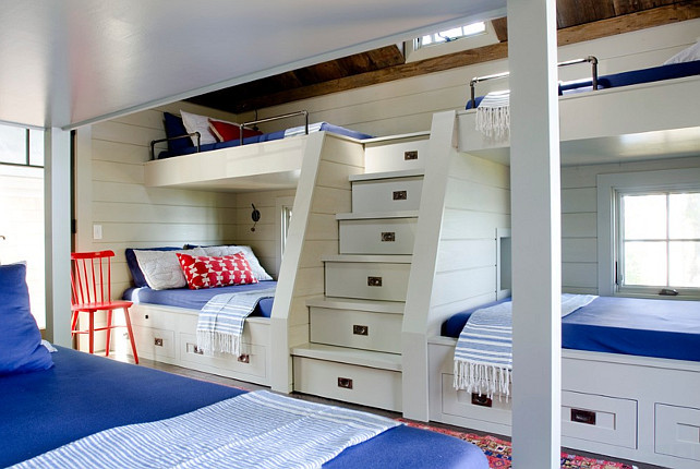 Bunk Bed Size Ideas. Bunk bed sizes. The boys' bunk room is a study in space planning with a mix of double and twin bunk beds that sleep eight, steps that double as storage drawers and custom wall niches that have their own reading lights and outlets. A John Robshaw throw pillow, a vintage first aid poster and a small child-size chair from Casa Design are amusing accents to the smart red, white and blue color scheme. #BunkRoom #BunkBeds #BunkBedSize Kristina Crestin Design.